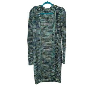 Peruvian Connection rainbow woven knit shawl color longline cardigan large